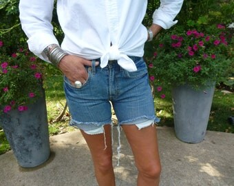 Levi Strauss 514 Size 28 Waist Cutoff Jean Shorts High Waisted Vintage Denim Red Tab Levi's