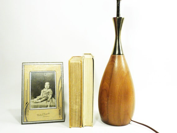 atomic wood and brass lamp . vintage danish mid century modern bowling pin shaped lamp . 1950s 1960s