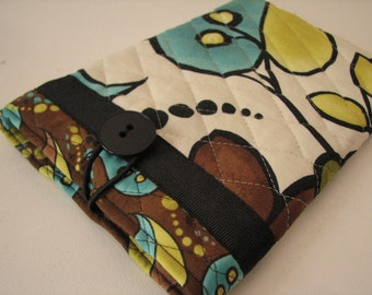 Quilted E reader sleeve Case, Brown and Teal Floral