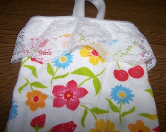 Strawberries, Cherries and Flowers Plastic Bag Holder - Beautiful Colors - Gift - Bright and Cheerful