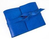 Leather Memory Book: Sapphire Blue, Orange. Scrapbook, wedding album, photo book in Medieval Longstitch binding. A5 Large or A6 Medium size.