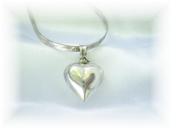 Vintage Silver Puff Heart Necklace: Sterling Silver Italian Chain and Heart Pendant Long Chain Puff Heart All Silver