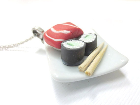Cucumber Roll and Salmon Sushi Necklace
