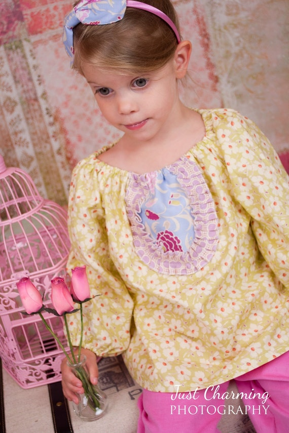 Girls Long Sleeve Peasant Shirt for Baby Toddler in Boho Mauve