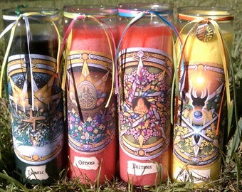 LIGHT HALF Wheel of the Year SABBAT Ritual Candles Set of 4 Wicca Witch Pagan Altar Spell Magick