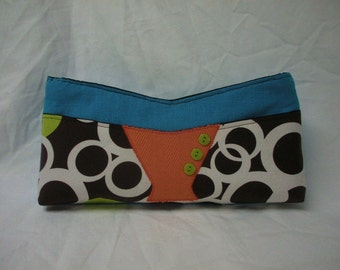 FREE SHIP Wahoo 2  brown white turquoise blue and lime Niza Handbags clutch purse with orange accent panel - BearlyArtDesigns