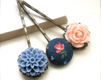 Resin Flower Bobby Pins, Mum and Resin Cabochon, Fabric Button Bobby Pin, Hair Accessory, Spring