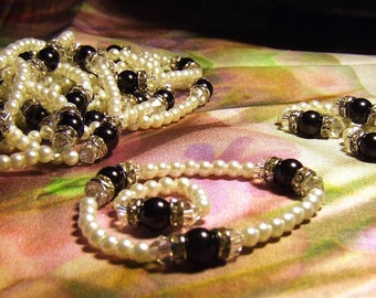Beautiful Art Deco Inspired Faux Pearl, Rhinestones and Glass Beaded Rings and Bracelets