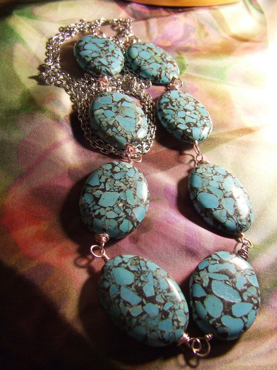 OOAK Bright Silver Aluminum Adjustable Chain and Turquoise Oval Beaded Necklace with Pink Aluminum Wire Wrapped HM Links