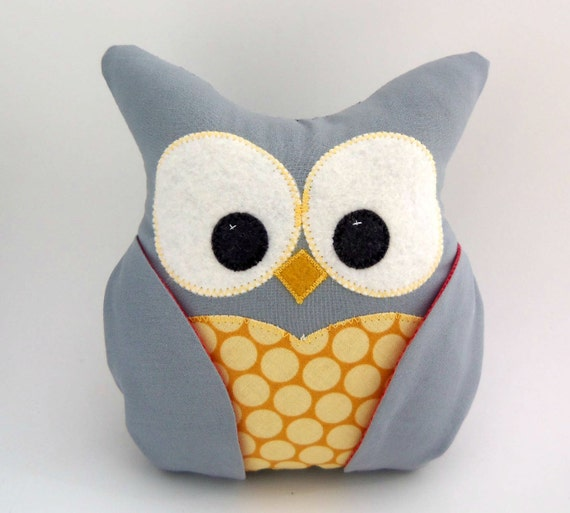 Plush Owl Pillow - grey, golden yellow and red fabric LAST ONE
