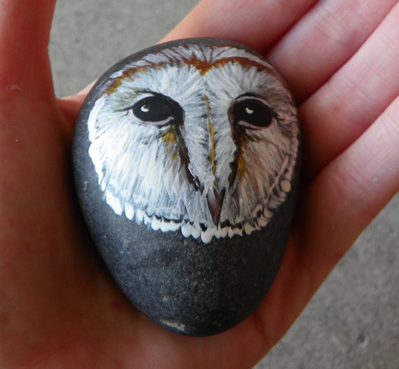 Hand Painted River Stone - Barn Owl