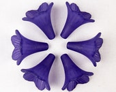 Acrylic Bead 6 Trumpet Flower Frosted Morning Glory Bugle Grape Purple 23mm x 21mm (1018luc23-13)
