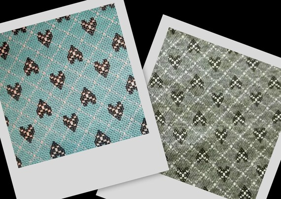 Grey or Blue Argyle Heart Lightweight Sweater Knit Fabric BTY