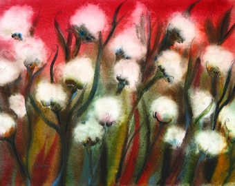 Commission Your Own, Scarlet Cotton, Mississippi Cotton Painting, ORIGINAL Watercolor Painting