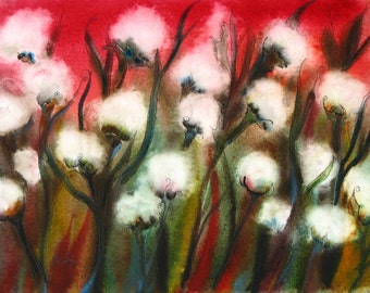 Scarlet Cotton, Mississippi Cotton  5 x 7 PRINT of Watercolor Painting