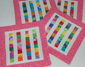 Bright Strings Mini Quilt Mug Rug or Coaster