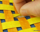 Yellow Orange and Blue Weave Origami Tessellation