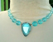 1920s Aquamarine Blue Crystal Pendant Choker necklace. Faceted cut glass, Art Deco Costume jewelry