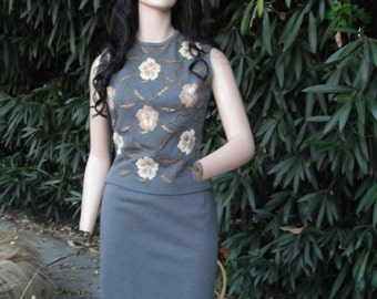 1960s 2 pc. Gray Wool Sleeveless Suit W/Embroidery, Hourglass, Figure Hugging and Fabulous