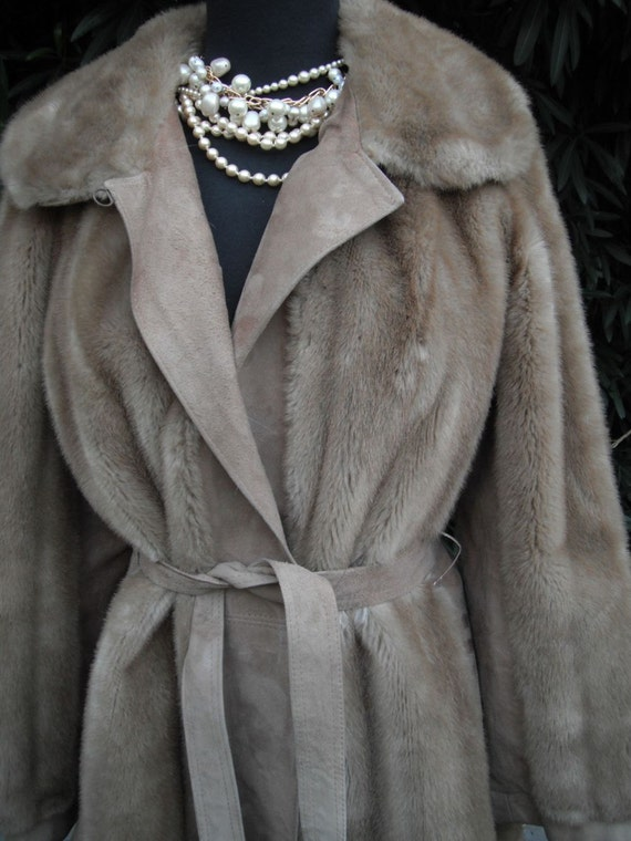 Vintage Lilli Ann Faux Fur and Suede Coat //  London Leathers by Lilli Ann