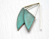 Geometric Verdigris Earrings - handmade brass earrings, sterling silver earrings, dangle earrings, verdigris patina, green blue turquoise