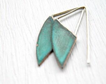 Geometric Verdigris Earrings - handmade brass earrings, sterling silver earrings, dangle earrings, verdigris patina, green blue turquoise