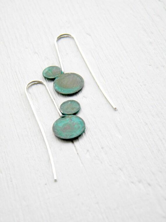 Geometric Verdigris Earrings - Two Circles - handmade copper, sterling silver dangle earrings green verdigris patina