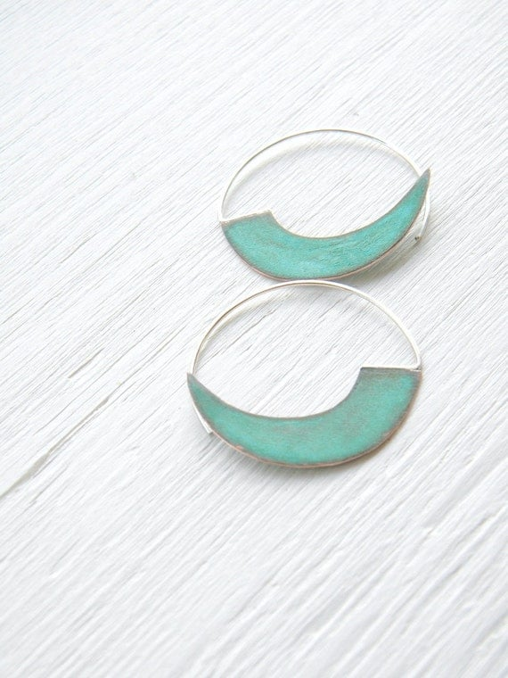FREE SHIPPING - Black Friday Cyber Monday - Verdigris Hoop Earrings - handmade brass sterling silver hoops, geometric, blue green patina