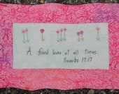 Valentine's Day Hand Quilted A Friend Loves At All Times Pink Scripture Verse Wall Art