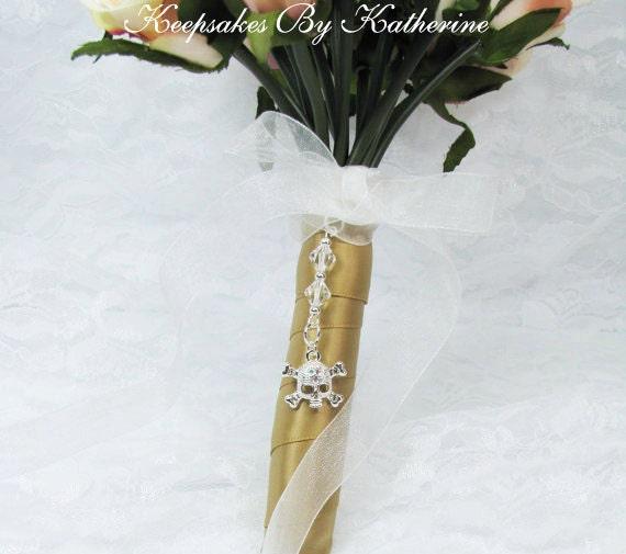 Crystal Skull Bouquet Charm, Goth Wedding