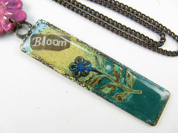 Pink Flower BLOOM necklace, Hand painted pendant, Long brass Chain Necklace
