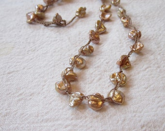 Peach Coin Freshwater Pearl crocheted beaded gemstone necklace