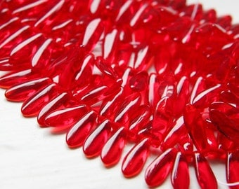 50pcs Czech Glass Dagger-Siam Ruby 5x16mm  (PG147300)