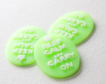 4pcs Acrylic Keep Calm and Carry on Cabochons 40x30mm (43F27)