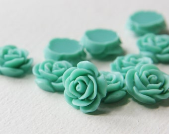 8pcs Acrylic Flower Cabochons-Turquoise 19mm (14F13)