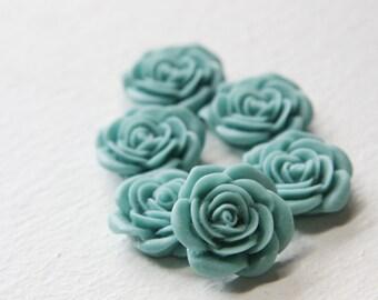 8pcs Acrylic Flower Cabochons-Light Blue 21mm (48F21)