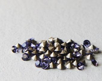 24pcs Swarovski 1028 Chaton Pointed Back Rhinestones-Foiled Tanzanite PP24 (SW887539)