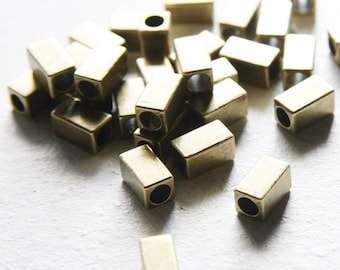30pcs Antique Brass Tone Base Metal Spacers-Tube 10x5.5mm (457X-E-360)