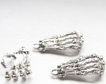 4pcs Oxidized Silver Tone Base Metal Charm - Hand Skeleton 38x21mm (26361Y-O-74A)