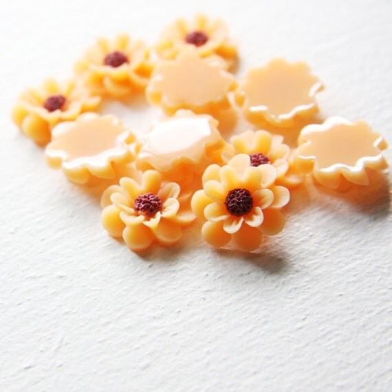 6pcs Acrylic Flower Cameo Cabochons- Orange 18mm (27F15A)
