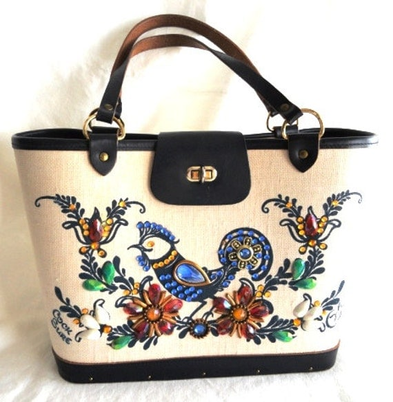 SALE Authentic Vintage Edith Collins purse, bucket bag, like new, Cock Sure, signed