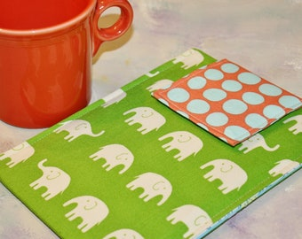 iPad Case, Ipad Cover, Ipad Sleeve, Ipad 3 Case, Ipad 3 sleeve, tablet case holder in Green Elephants