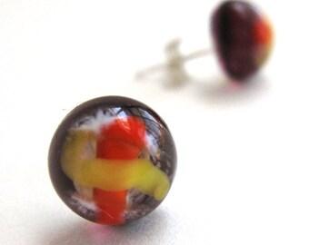 Eggplant Purple, Orange and Yellow Tiny Planet Earrings