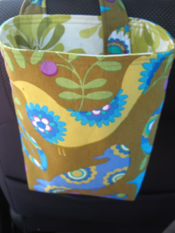 Car Trash or Litter Bag Reusable in Pretty Bird and Flowers in Green, Brown, Purple, and Blue