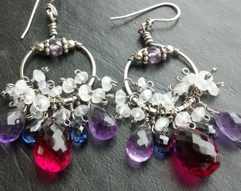 Berry Drops earrings sterling silver Color change Alexandrite Rainbow Moonstone Raspberry Quartz Amethyst Blue Sapphire