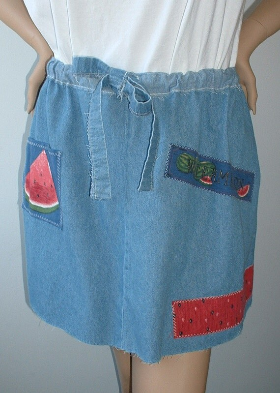 "Tattered Denim Mini Skirt, Upcycled, Eco-Friendly, Watermelons, Picnic, Urban Cowgirl from ""Pretty in Plus"""