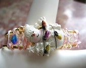Blushing Snowman Bangle ... pink, wirewrapped, pearls, crystals  ... #511