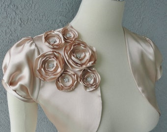 Wedding Bridal Champagne  Satin Bolero Shrug With Flowers and Rhinestones All Sizes Available and More Colors