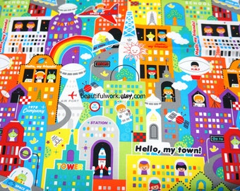 Japanese Fabric Future town 50 cm by 53 cm or 19.6 by 21 inches FAT QUARTER  (hb4)