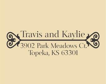 Travis and Kaylie Custom Return Address Stamp  Design R054